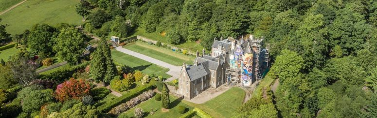 An aerial shot of the Kelburn Castle estate