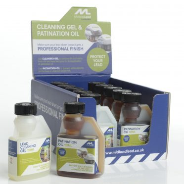 Counter display: patination oil & lead cleaning gel